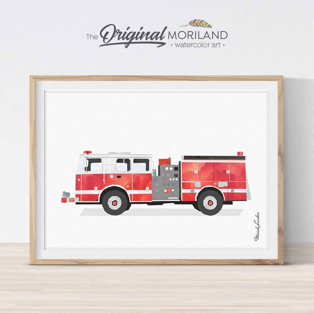 Firetruck Print, Fire Truck Printable, Fire Engine Print, Transportation Decor, Big Boy Room Decor, Toddler Boy Room Decor, Kids Bedroom Art