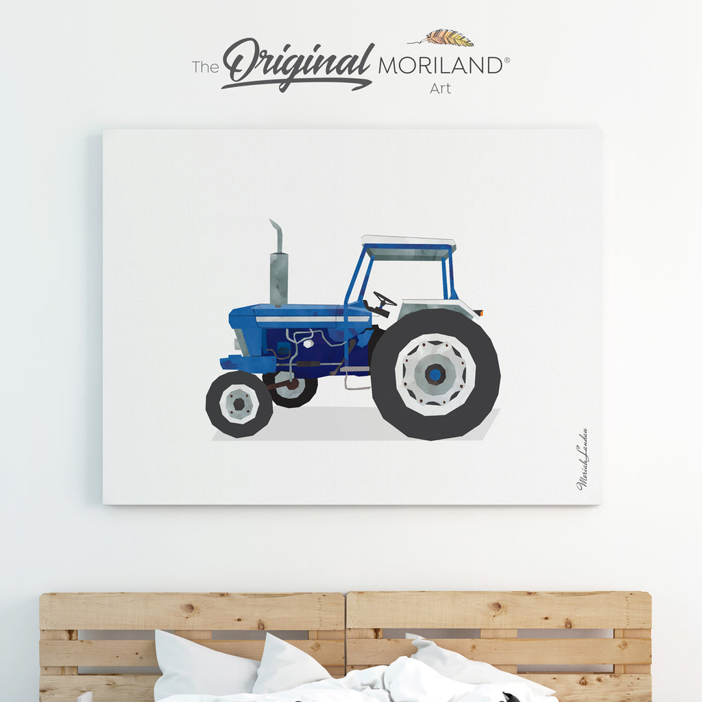 Old tractor watercolor canvas print for boy room decor by MORILAND