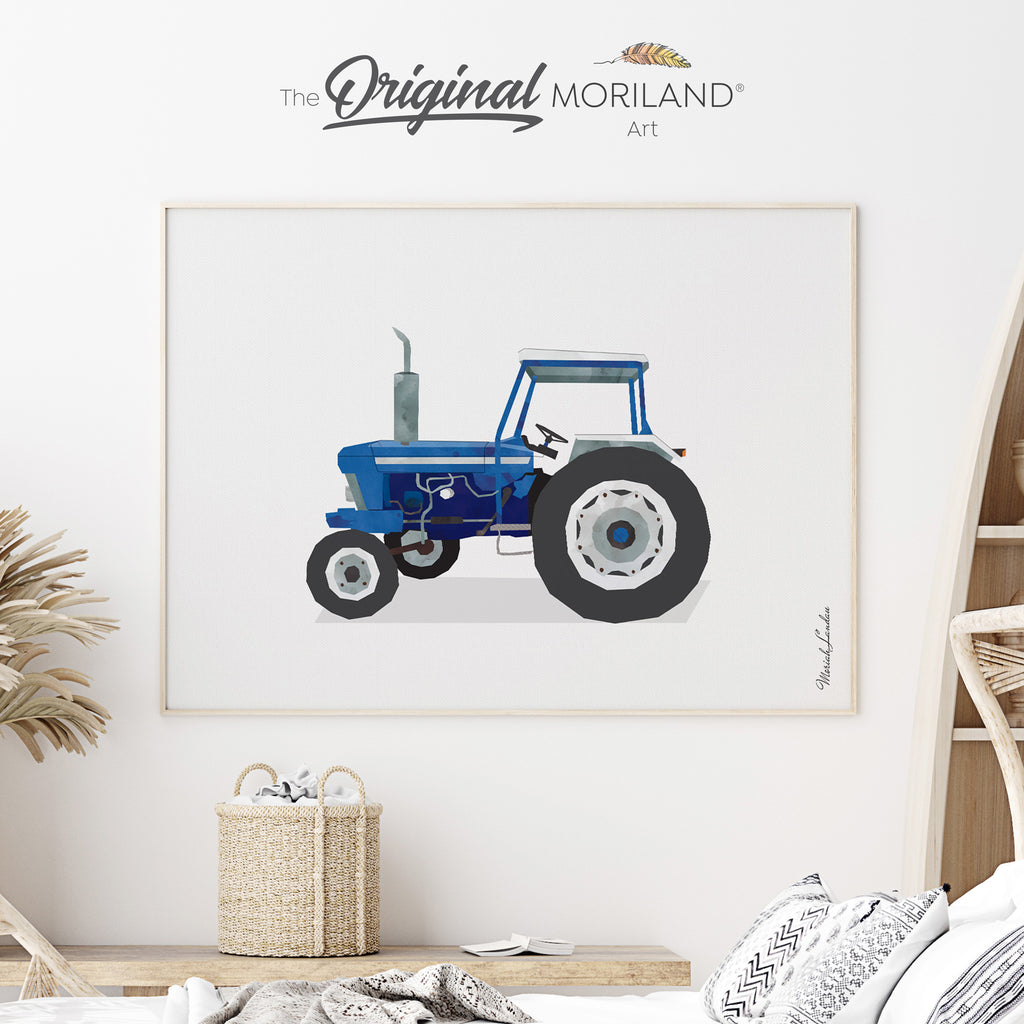 Old tractor watercolor print for boy room decor by MORILAND