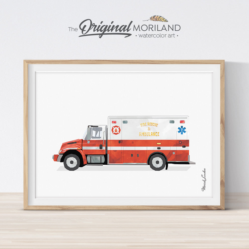 Firetruck Ambulance Print, Fire Truck Printable, Fire Engine Decor, Transportation Decor, Boy Bedroom Art, Toddler Boy Room Decor, Rescue