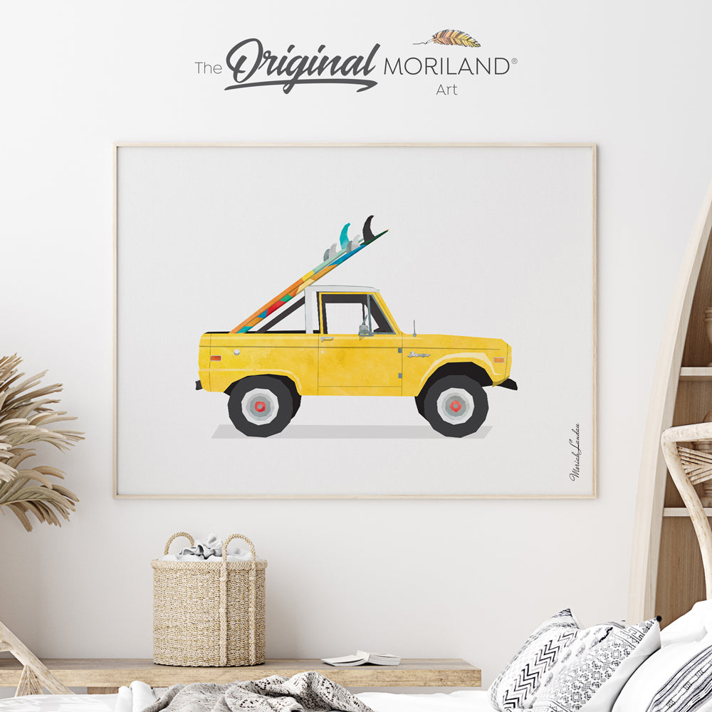 Surf bedroom decor, car with surfboard art print by MORILAND