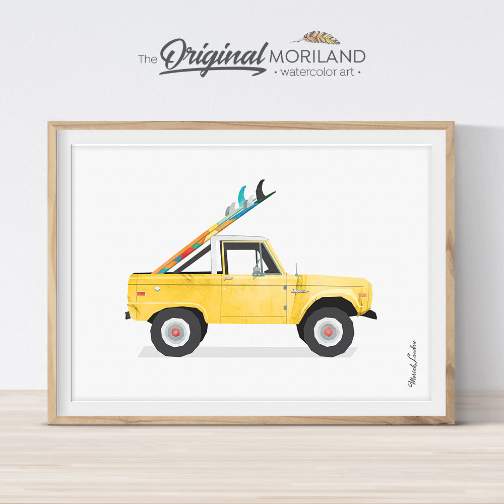 Bronco Wall Art Print with surfboard for kids room decor