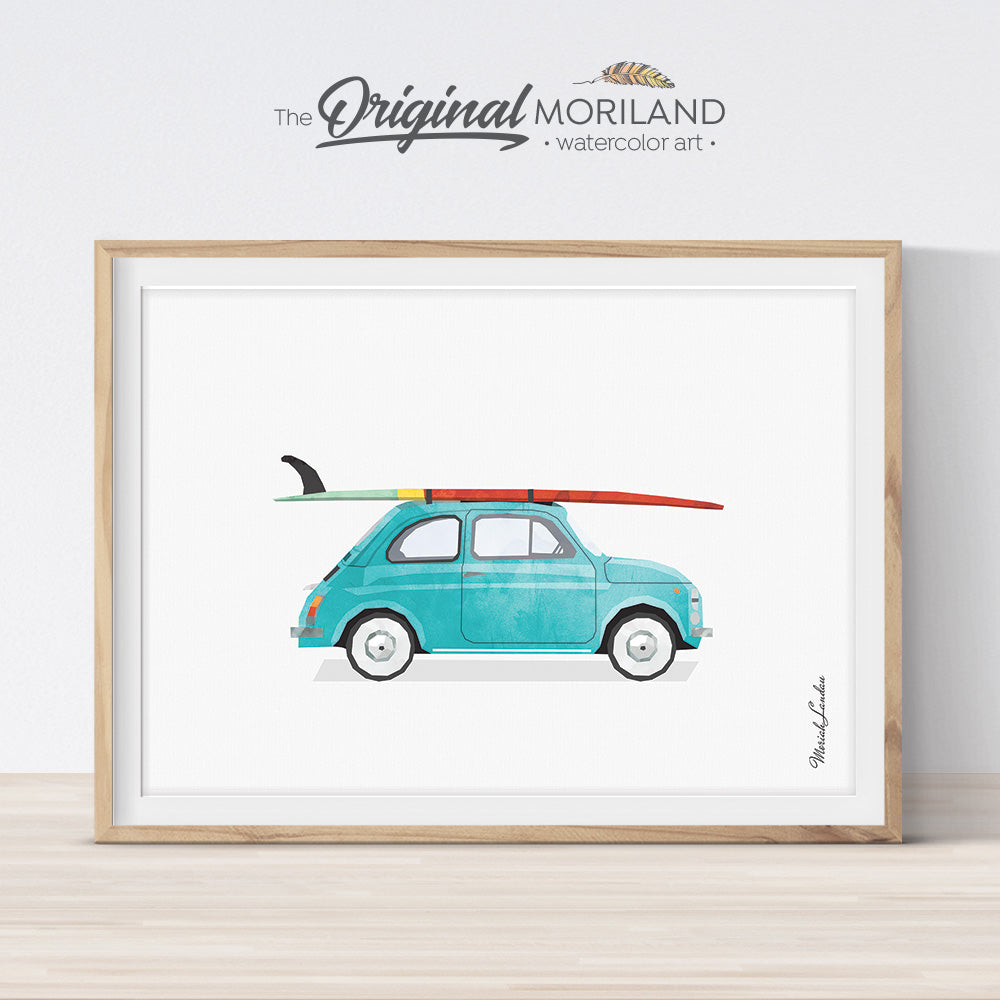 Fiat 500 Print with Surfboard Wall Art print for kids room decor