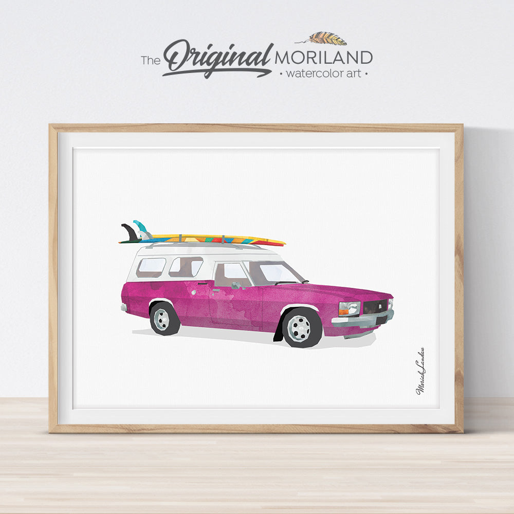 Vintage Holden car with surfboard wall art print for kids room decor