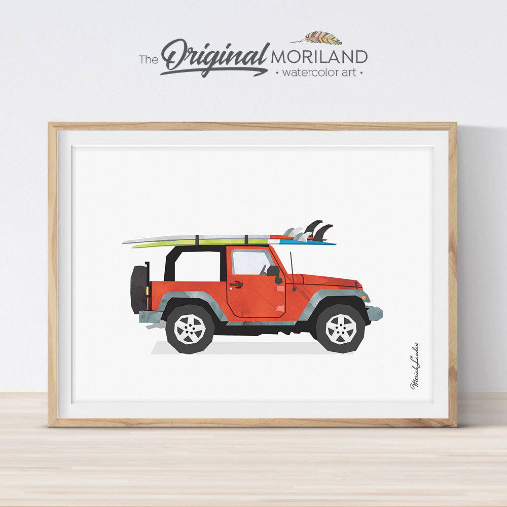 Jeep with surfboard wall art print for bedroom decor