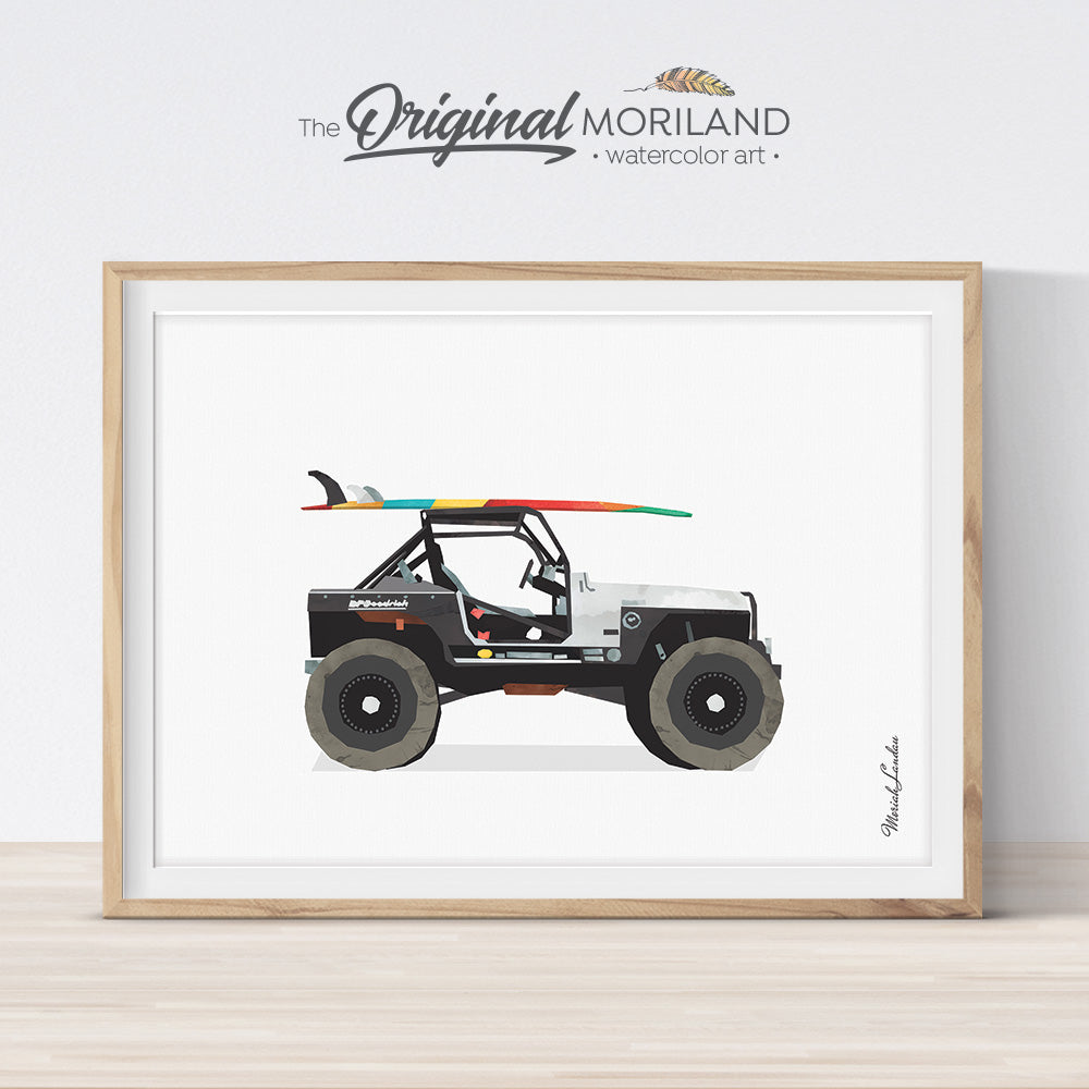 Jeep Print, Surfboard Wall Art, Bedroom Wall Art, Surfboard Print, Transportation Decor, Classic Car Art, Printable Vehicle, Summer Art