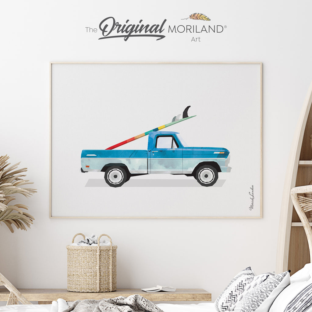 Vintage pickup truck with surfboard Fine Art Print for Boy Room Decor