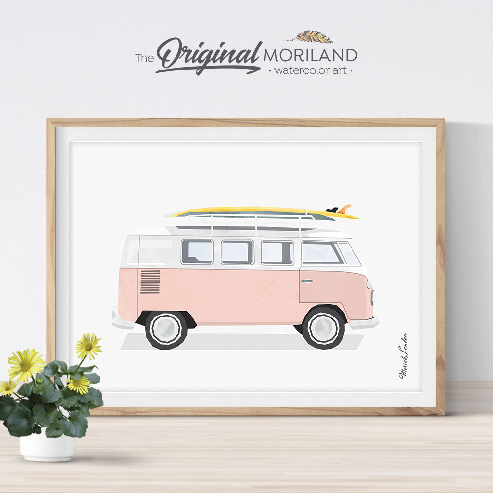 Pink VW Bus Wall Art Print for girls room decor