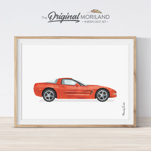 Corvette Wall Art Print gift for boy room decor
