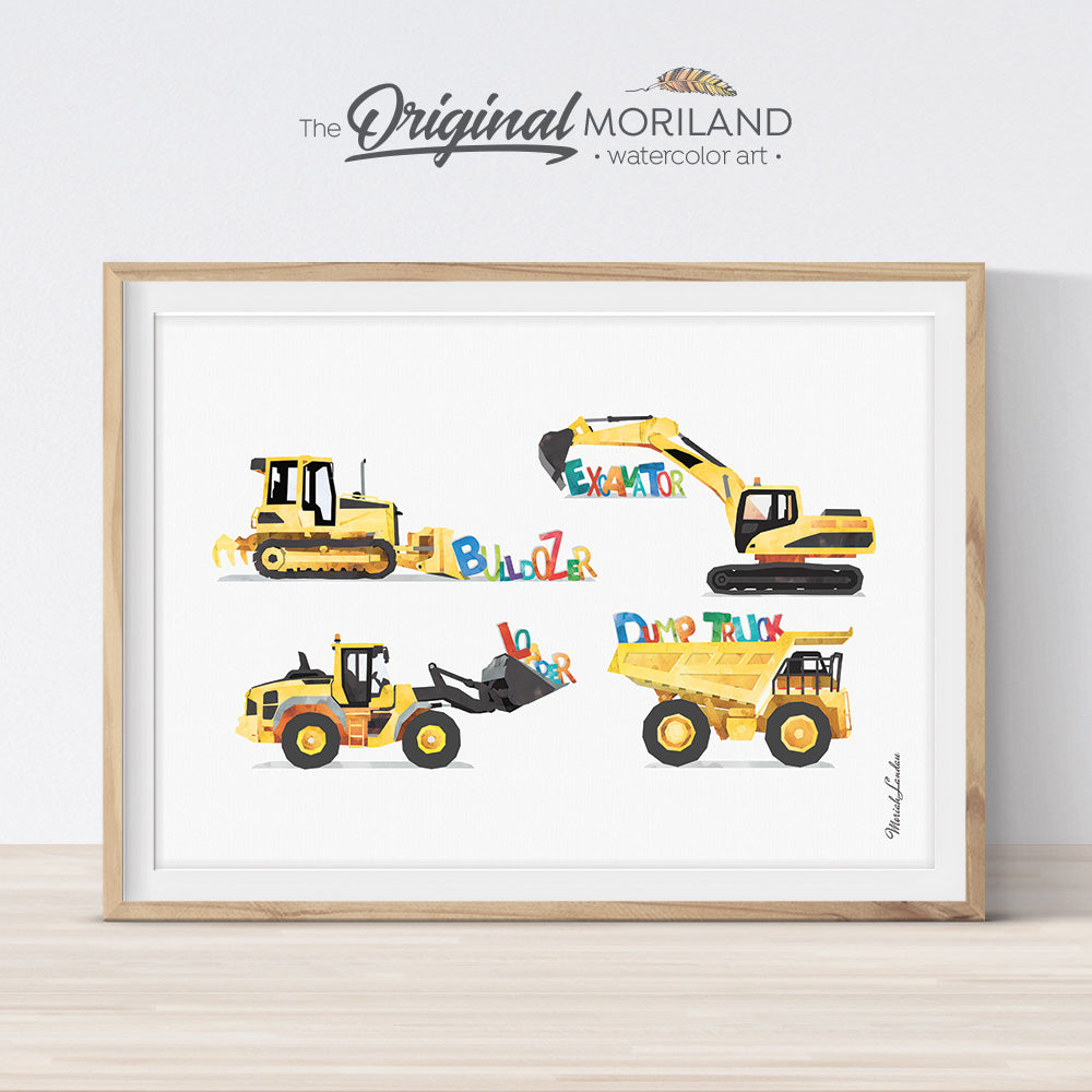 Alphabet Digger Dump Truck Construction Print for boys bedroom