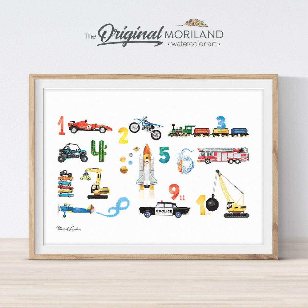 Transportation vehicle Alphabet numbers print for boy room decor
