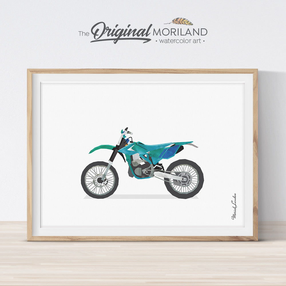 Green Dirt Bike Wall Art for boys room decor