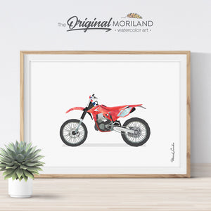 Red Dirt Bike Print for Boys Bedroom Wall Art