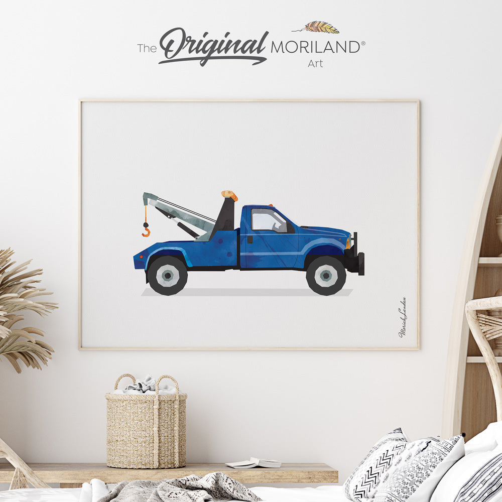 tow truck print poster