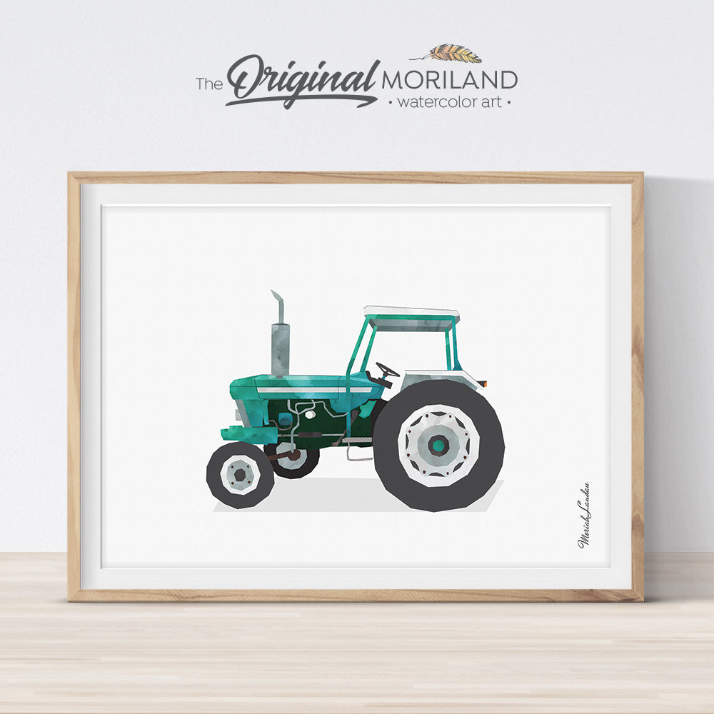 Green Vintage Old Tractor Wall Art Print for kids room decor