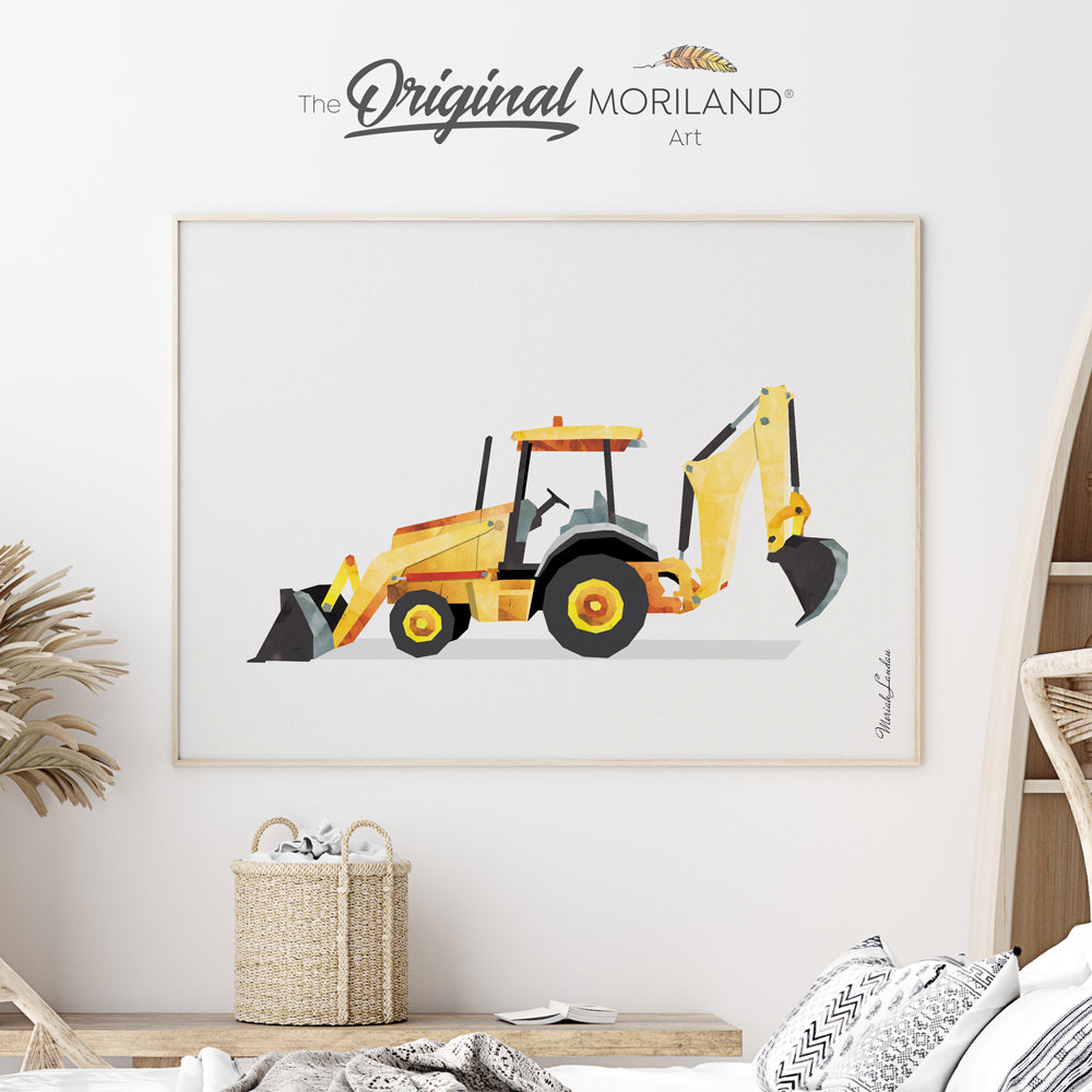 watercolor digger art print for toddler boy room decor by MORILND