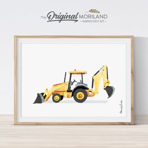 Backhoe digger watercolor print wall art for big boy room decor