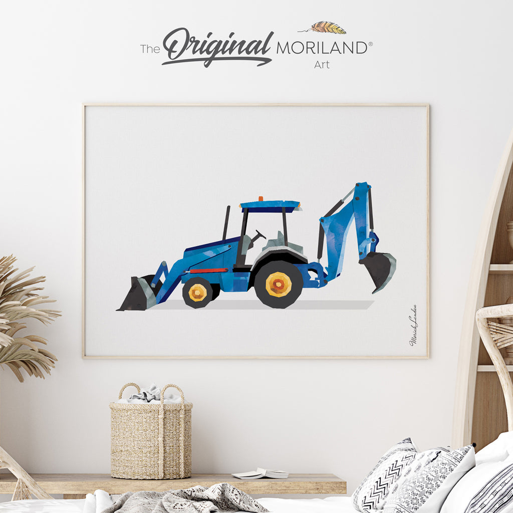 Watercolor Backhoe digger print for boy room decor by MORILAND