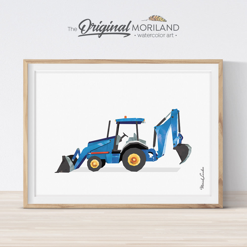 Blue Tractor Loader Backhoe Wall Art for Nursery and Boy room decor