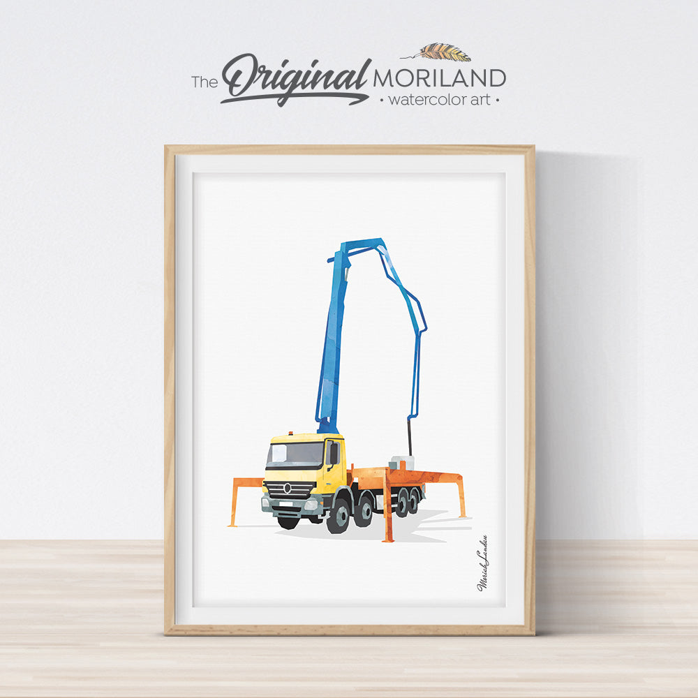Concrete pump truck wall art print for boy room decor by MORILAND