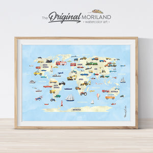 Watercolor world map wall art print for nursery