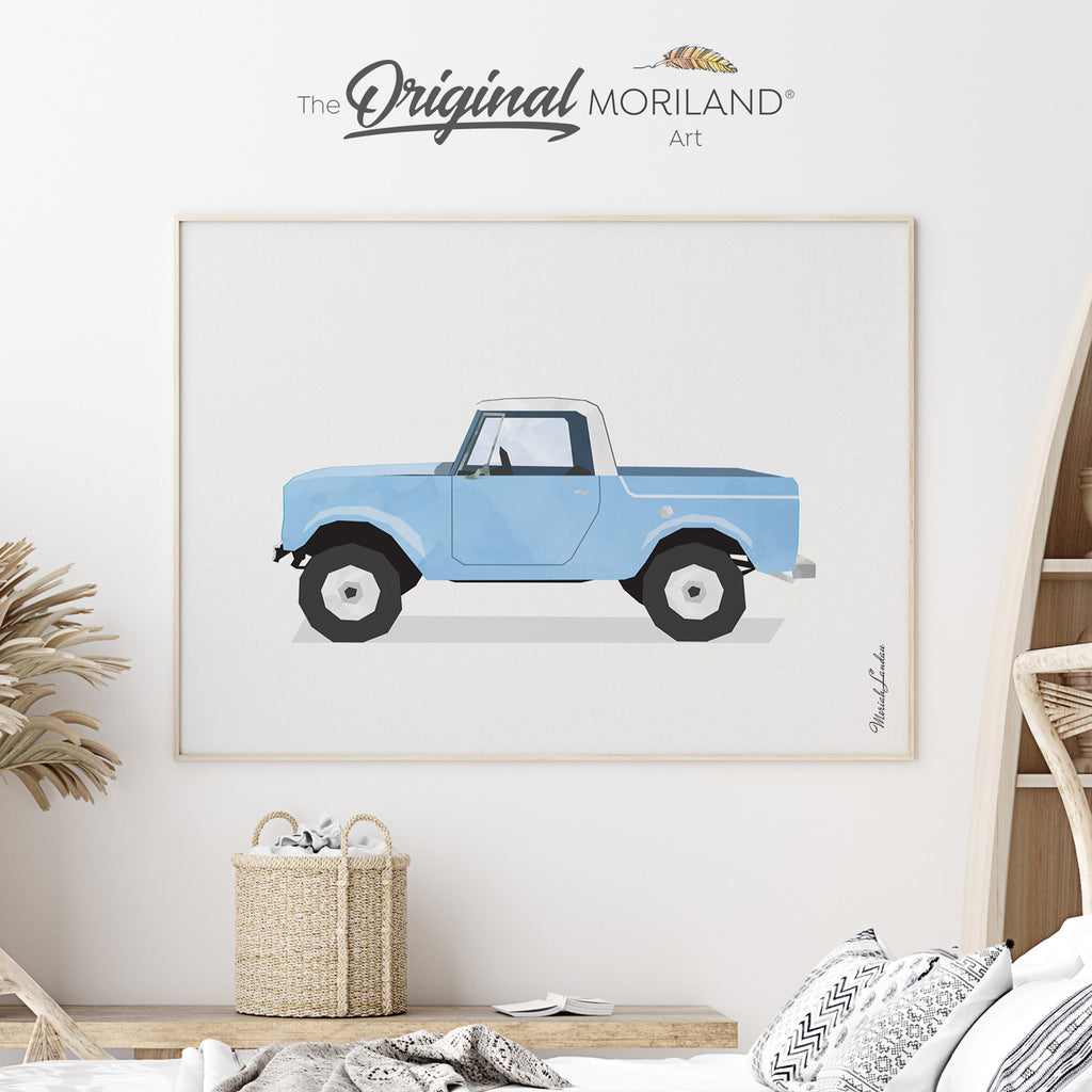 vintage truck baby blue color art for boy nursery decor by MORILAND