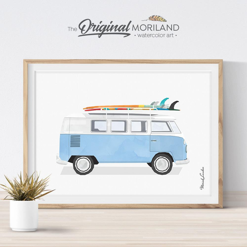 Van bus print for nursery and boy room decor