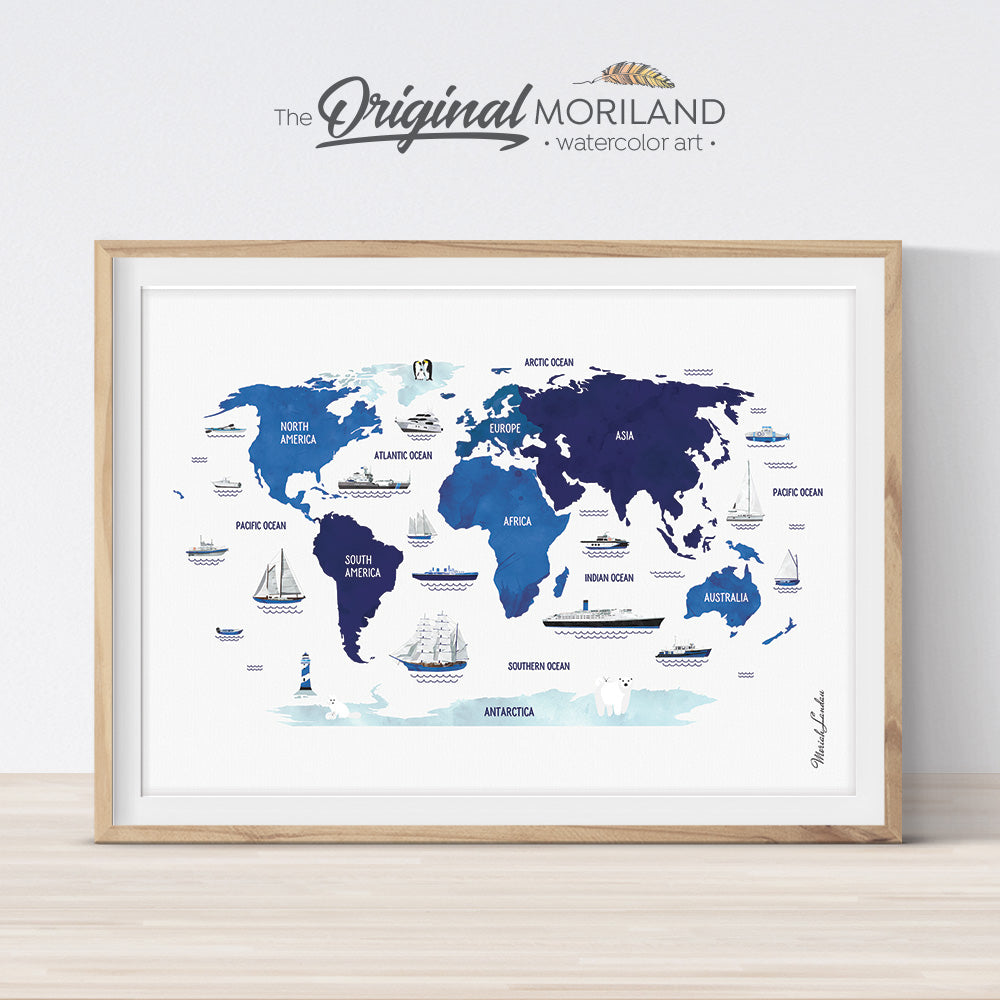 Blue Navy Nautical World Map Print for Boy Nursery Decor