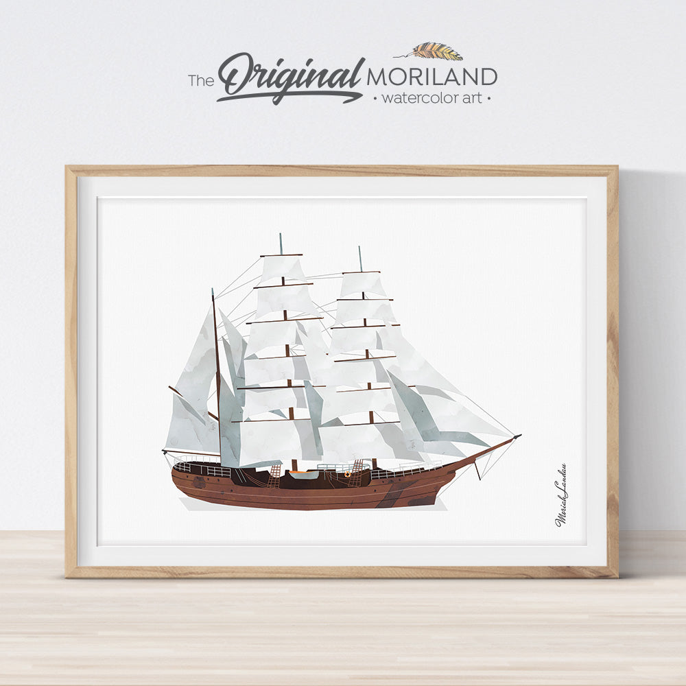 Sailing Ship Wall Art print for bedroom decor