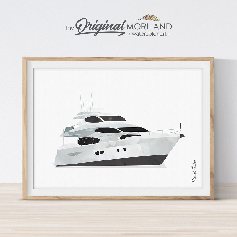 Yacht Watercolor painting gift