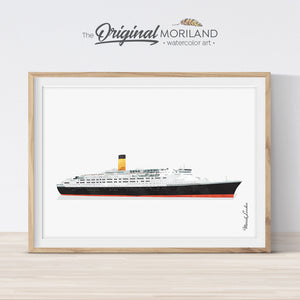 passenger liner ship watercolor wall art