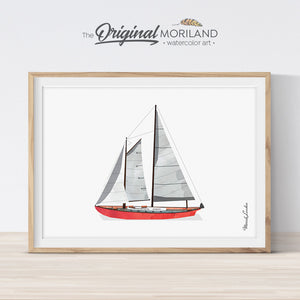 Sailboat nautical print for kids room decor