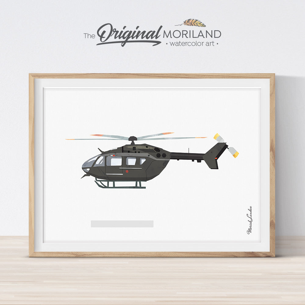 UH-72 Lakota US Army Helicopter Print for kids room decor