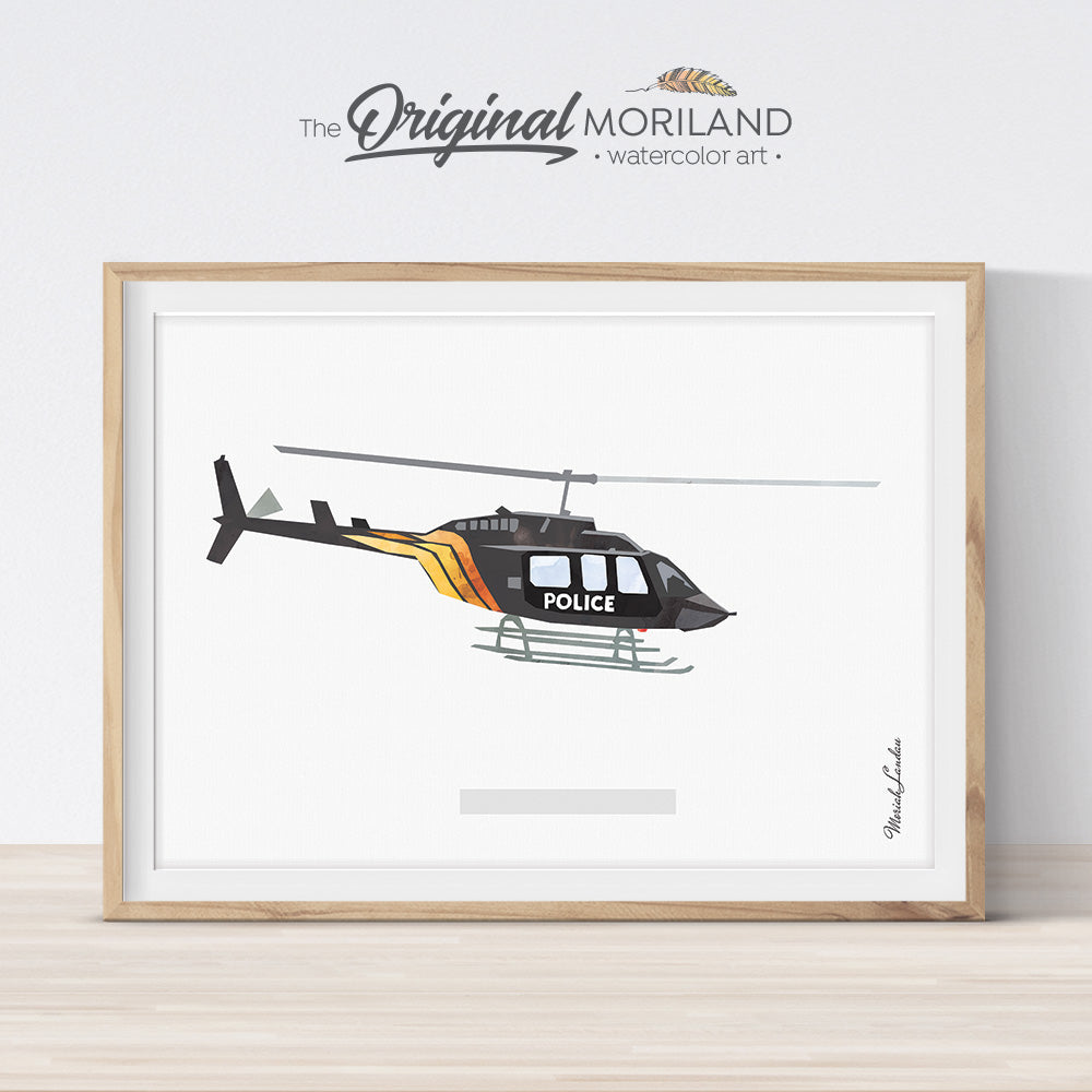 Police helicopter wall art print for boys bedroom decor