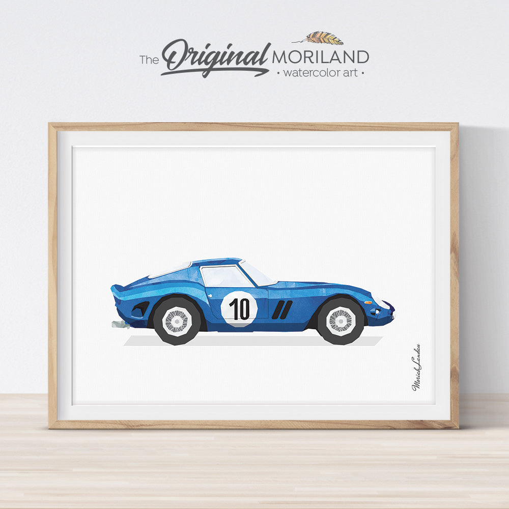 Blue Ferrari race car wall art print for toddler boy room decor