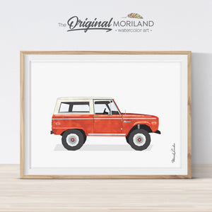 Red Bronco wall art print for bedroom decor