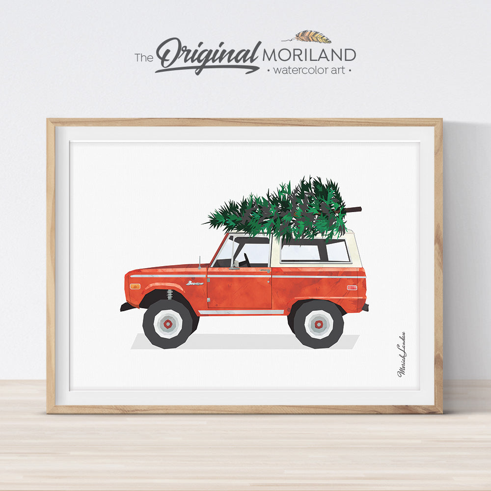 Red Christmas bronco printable print wall art for decoration and card