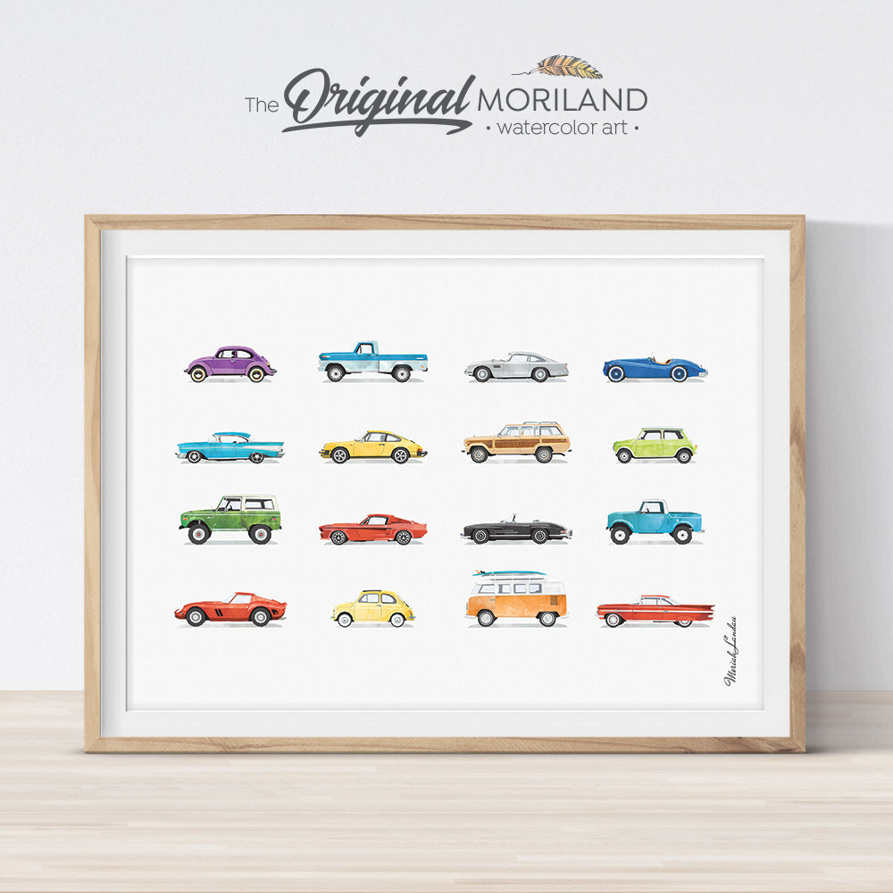 classic cars wall art poster in watercolor for boys room decor