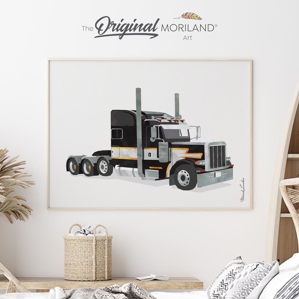 watercolor semi truck print for boy bedroom decor by MORILAND