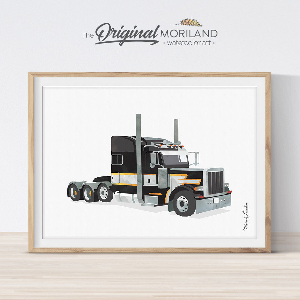 Peterbilt Semi truck wall art for boys room and nursery decor