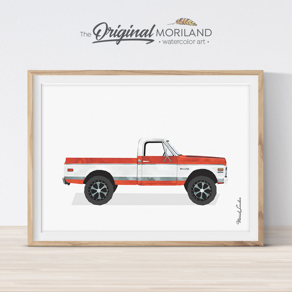 1971 Chevy C10 print wall art for kids room and nursery decor