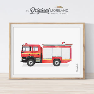 Fire truck printable wall art for kids room and nursery decor