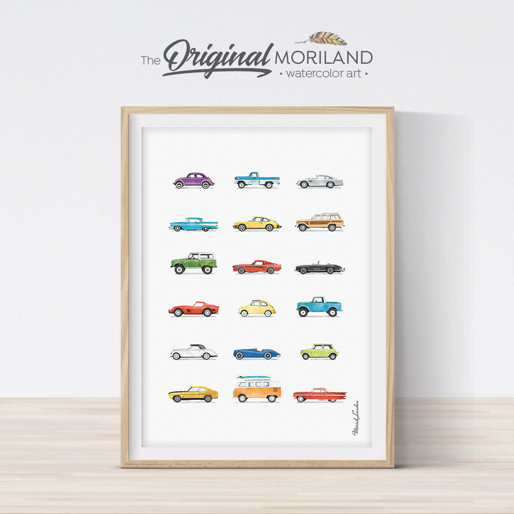classic cars print wall art for nursery and boy bedroom decor