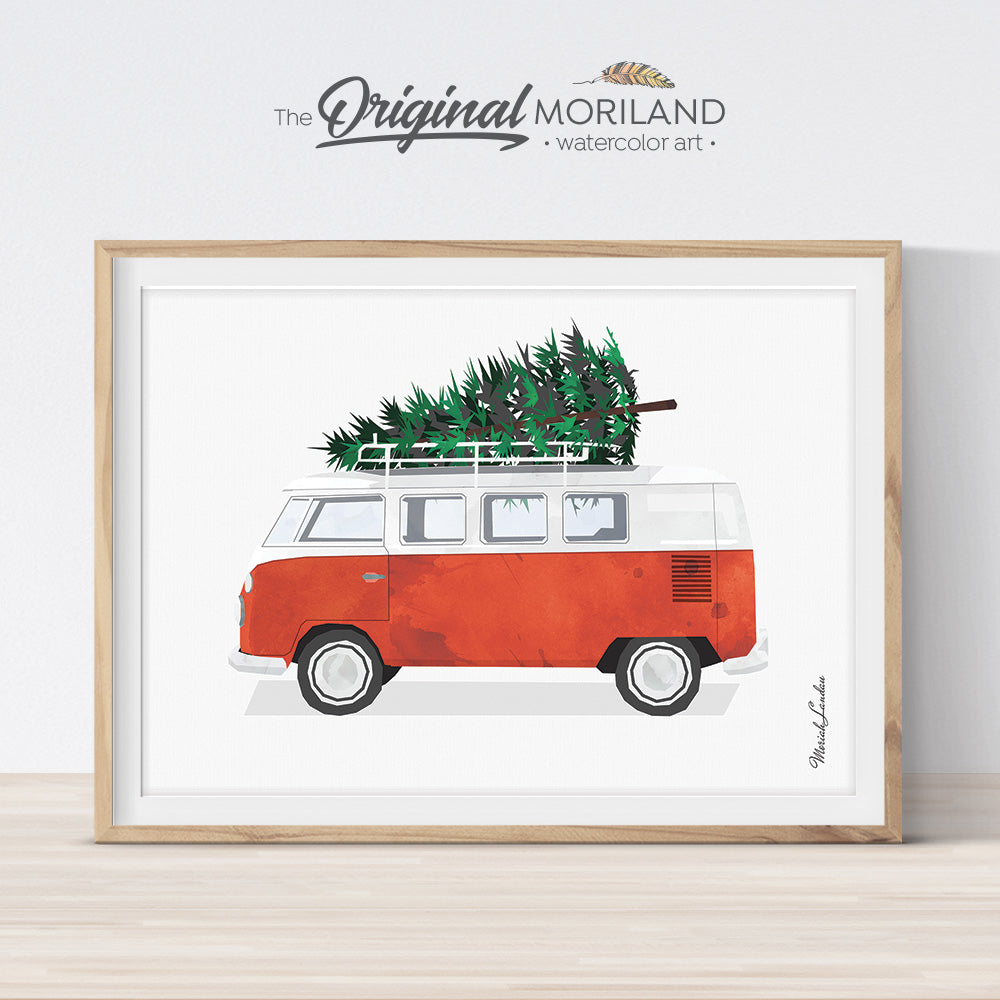 Christmas Van print wall art for decoration and printable card