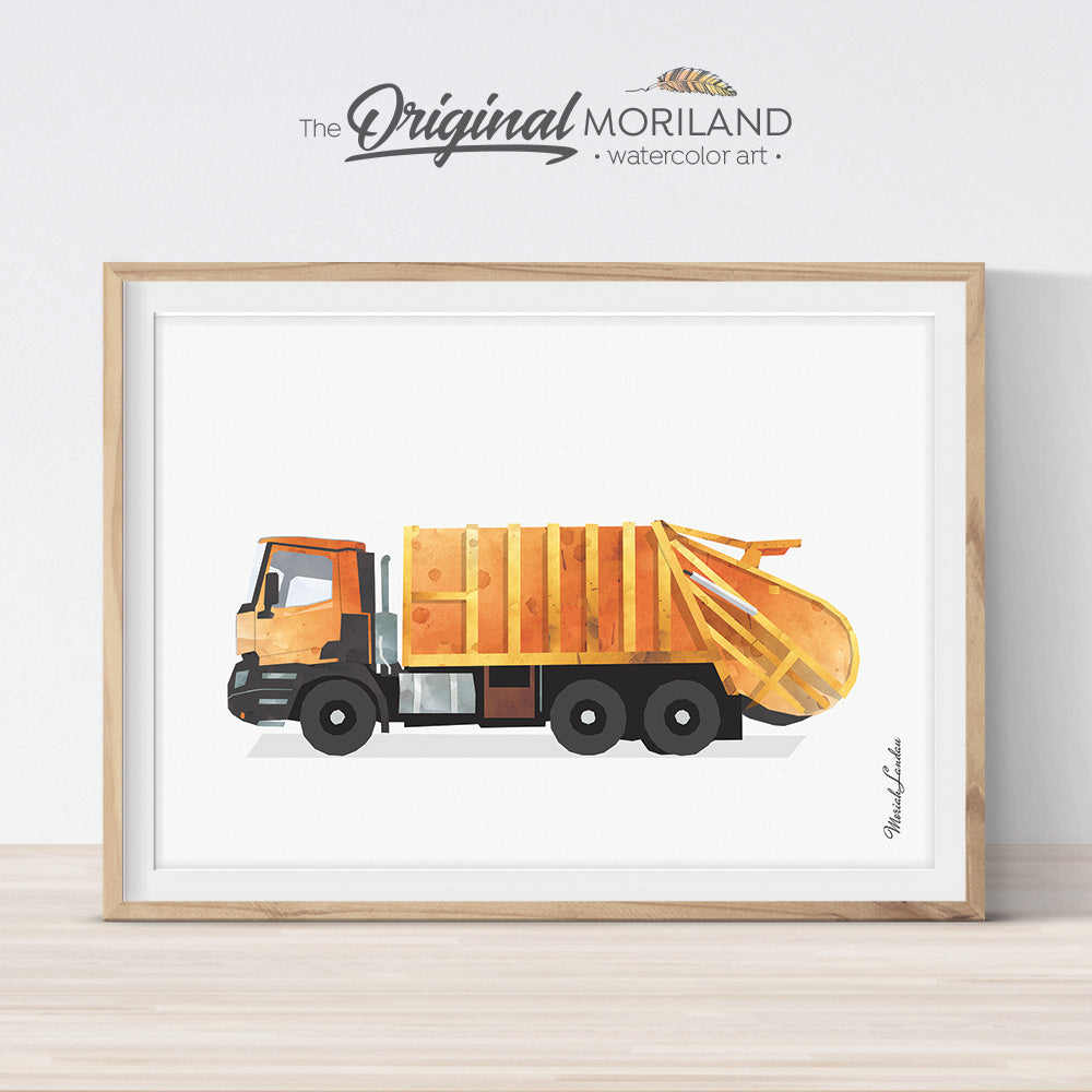Orange garbage truck watercolor print wall art for nursery and boy bedroom decor