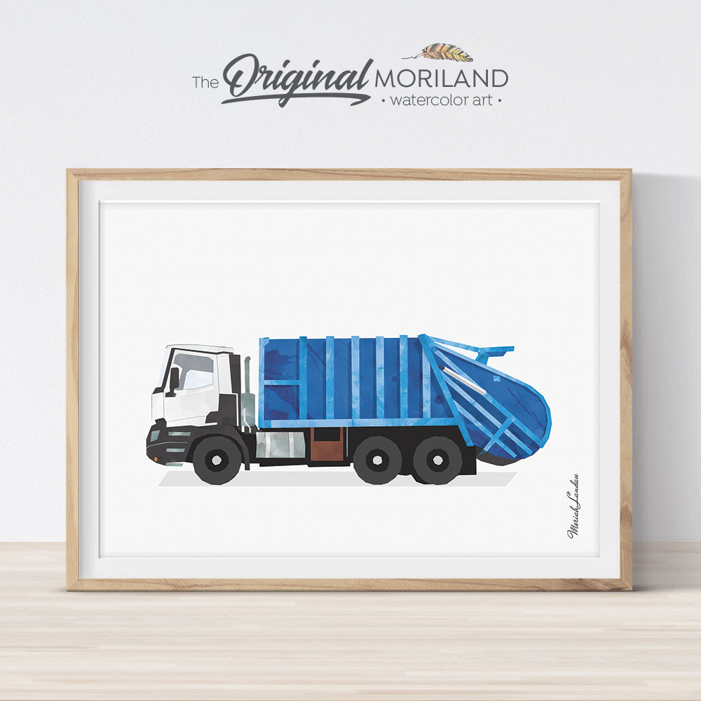 Garbage truck print wall art for kids room and nursery decor