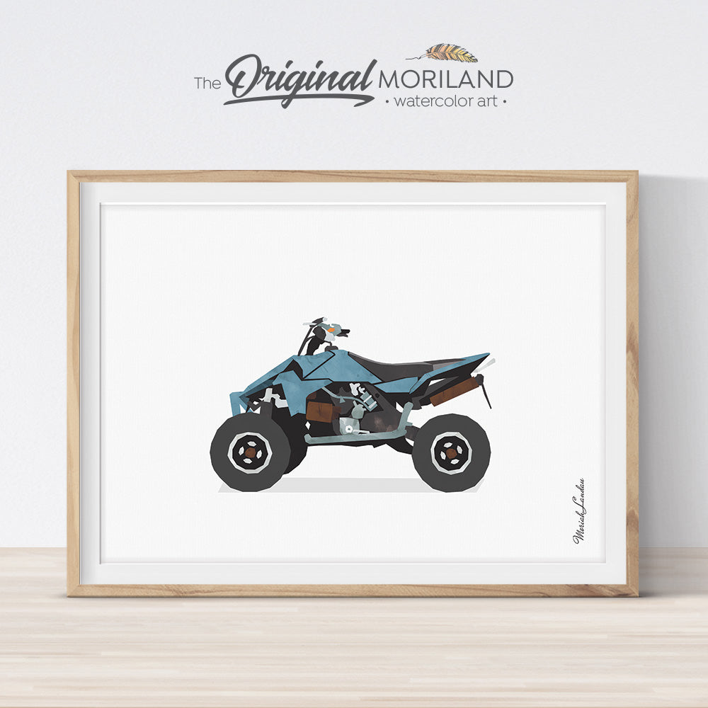 Quad bike motocross wall art print for boy room decor, watercolor illustration