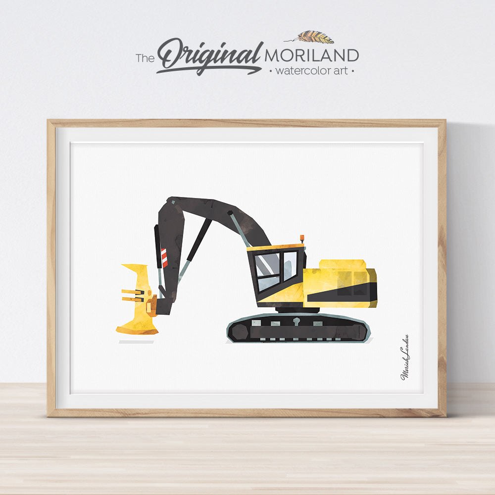 Feller Buncher Harvester watercolor construction wall art print for boy room and nursery decor