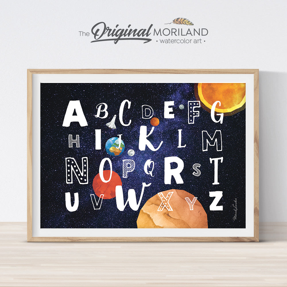 Space Alphabet Wall Art Print for boy and girl room decor