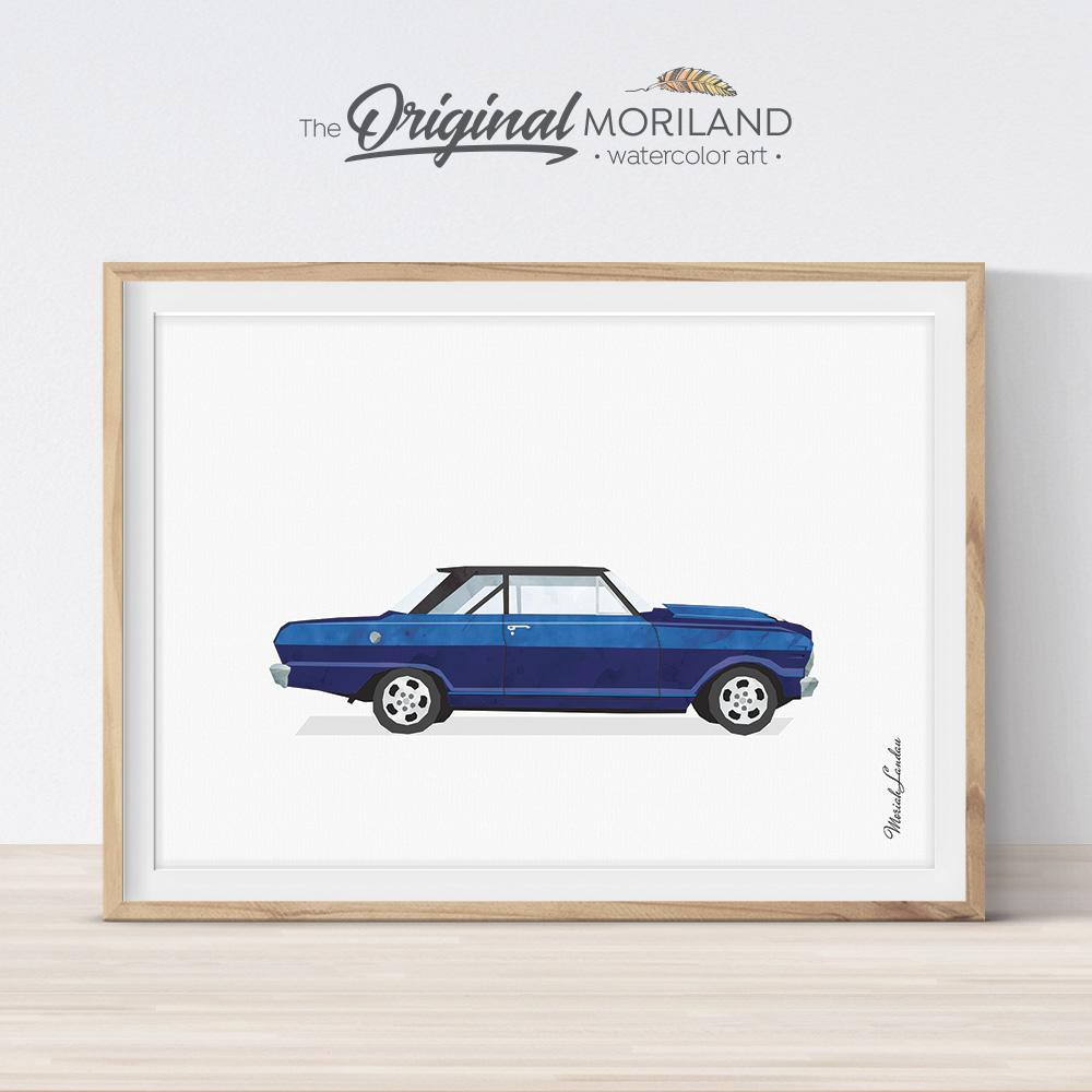 blue muscle car art print Chevy for boy bedroom decor